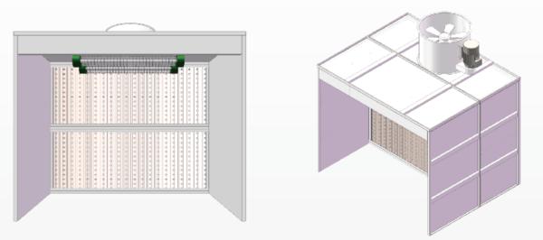 Cabine de peinture ouverte sur mesure avec ventilation horizontale